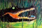 Mito africano del cocodrilo y el niño
